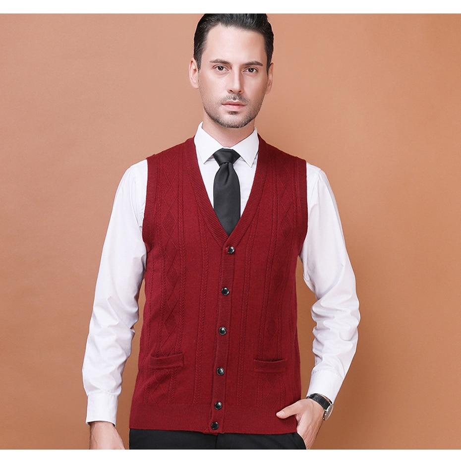 Men's Wool Sweater Cardigan Sleeveless Buttons Down Basic Knit ...