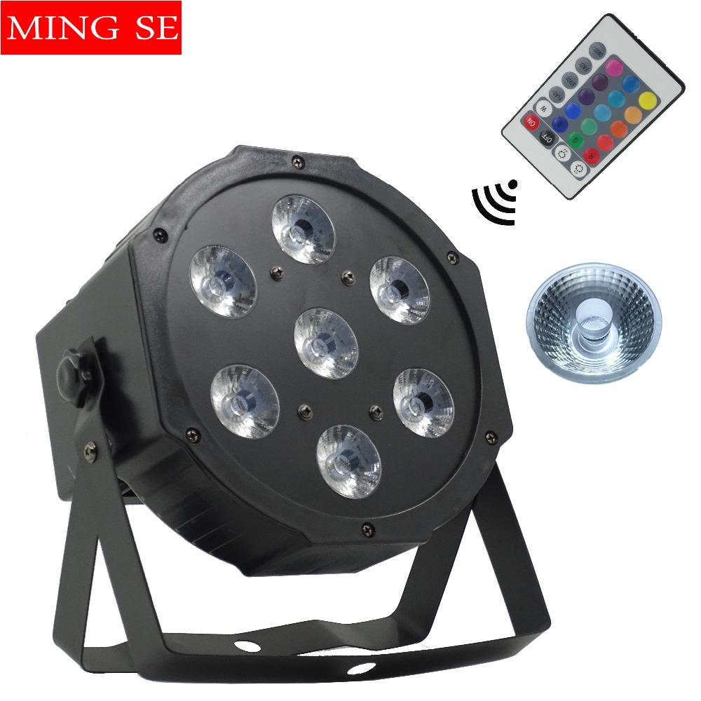 Fast shipping 7x12w Wireless Remote led Par lights RGBW 4in1 flat par led dmx512 disco lights professional stage dj equipment free shipping 9x10w 30w flat led par lights 9 10w 30w rgbw 3in1 par dmx512 control disco lights professional stage dj equipment