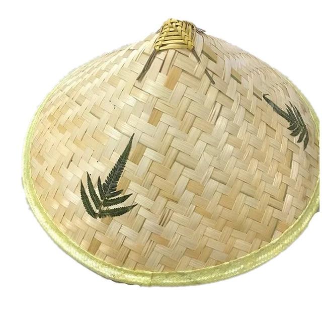 cccd99d8c18ff Chinese Retro Bamboo Straw Hat Women Men Handmade Weave Fisherman Hats  Unisex Props Cone Sunshade Caps Tourism Rain Cap CP0201