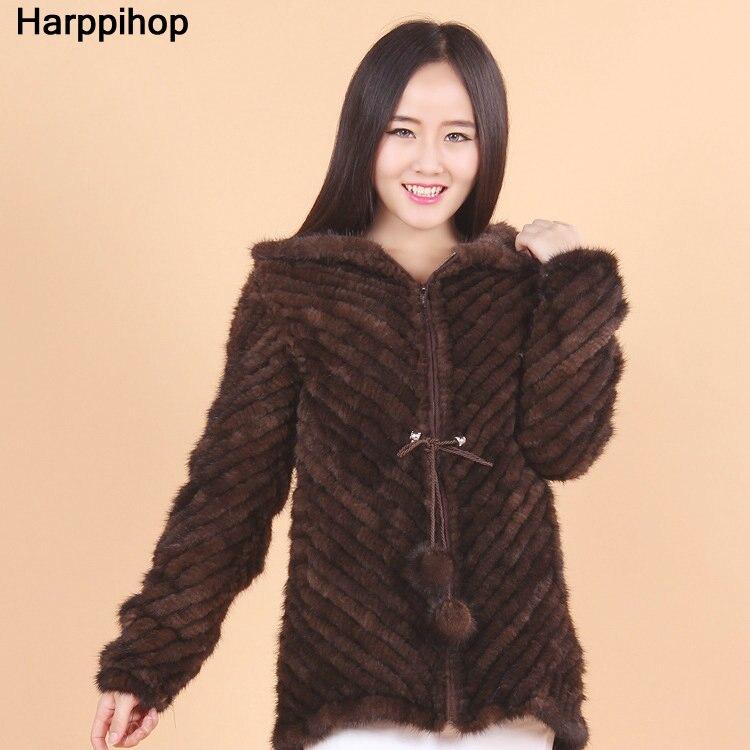 Mink Twill Weave Long Sleeve Hooded Mink Knit Korean Style Coat Hooded Jacket