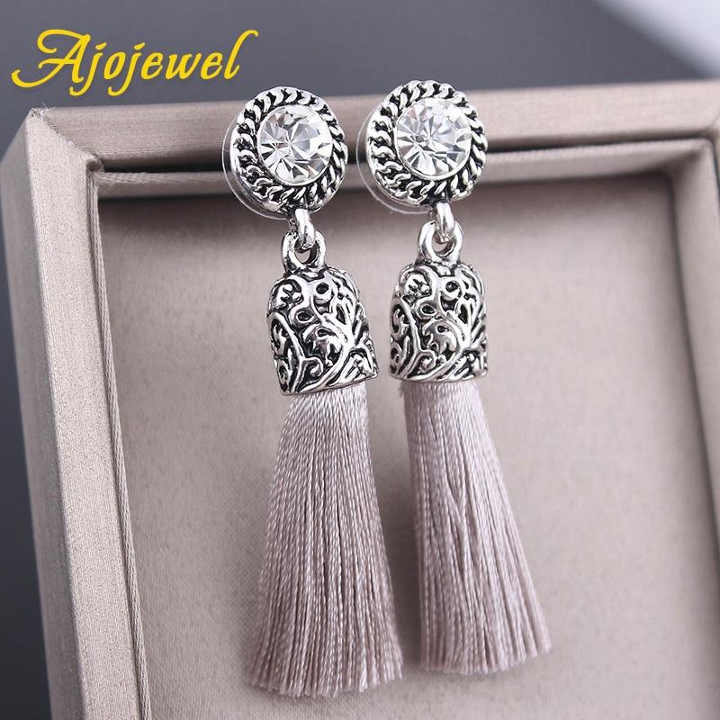 Ajojewel Antique κοσμήματα στρογγυλό κρύσταλλο μετάξι σκουλαρίκια φούντα για τις γυναίκες 2017 χονδρικής vintage κοσμήματα αξεσουάρ