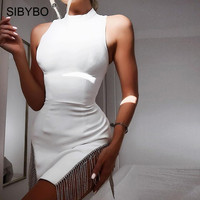 Sibybo Diamond Spliced Mini Sexy Bodycon Dress Fashion Sleeveless O Neck Summer Party Dress White Split Casual Women Dress