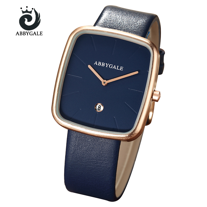 Fashion Creative Hot sell luxury ABBYGALE Men's Women's Watch Square Rose Golden Case Quartz watch lover's watch festival gifts