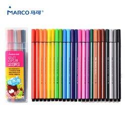 ماركو 12/24 الألوان قابل للغسل علامة مائية القلم الكتابة على الجدران أقلام تلوين اللوحة القلم الرسم للأطفال الفن القلم الأقلام الملونة