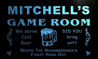 x0223-tm Mitchells Social Club Game Room Custom Personalized Name Neon Sign Wholesale Dropshipping On/Off Switch 7 Colors DHL