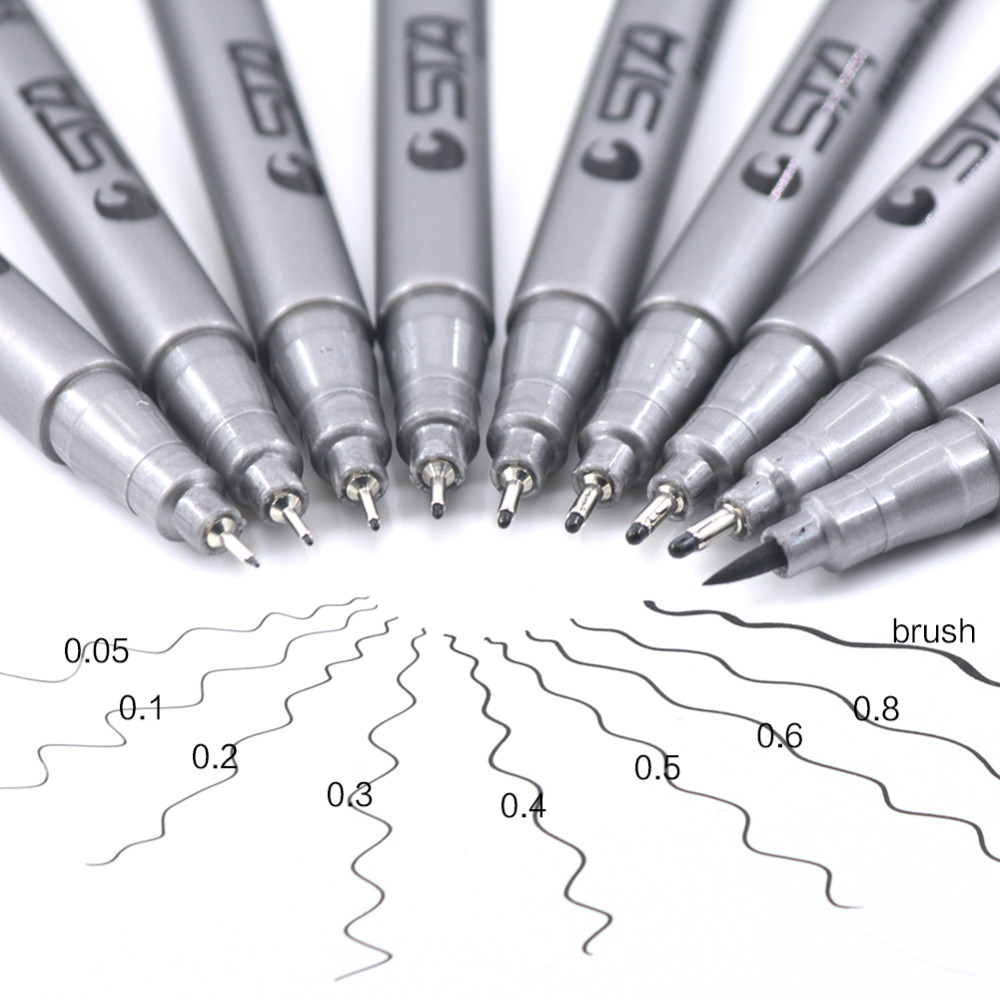 9 Pcs Different Size Pigment Liner Triangular Fineliner Pens Sketch Pens Art Drawing Signature 9 Size Brush Marker Pens 4 pcs multipurpose fiber nail art drawing pens