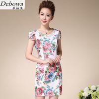 Debowa طباعة bodycon الأم اللباس 2017 جديد الصيف اللباس أزياء الصين نمط شيونغسام اللباس جميلة المرأة اللباس الأبيض