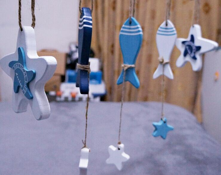 Mediterranean Starfish Hung Fish <font><b>Nautical</b></font> <font><b>Decor</b></font> hang small adorn Crafts Wood Fish/decorated marine pendant