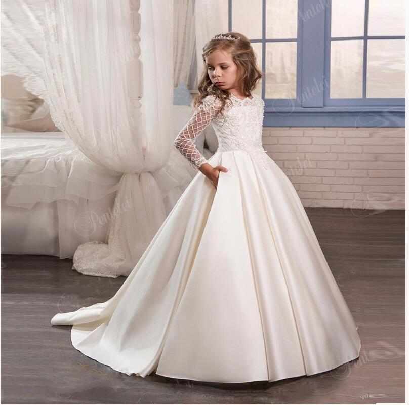 купить Pageant Dresses for Girls Glitz Mermaid Kids Beauty Pageant Dresses Ankle-Length Flower Girl Dress White Mother Daughter Dresses дешево