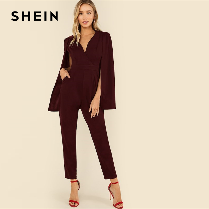 SHEIN Burgundy Wrap Front Tailored Cloak Sleeve Cape   Jumpsuit   2019 Women Elegant Spring Highstreet V neck Long Sleeve   Jumpsuits