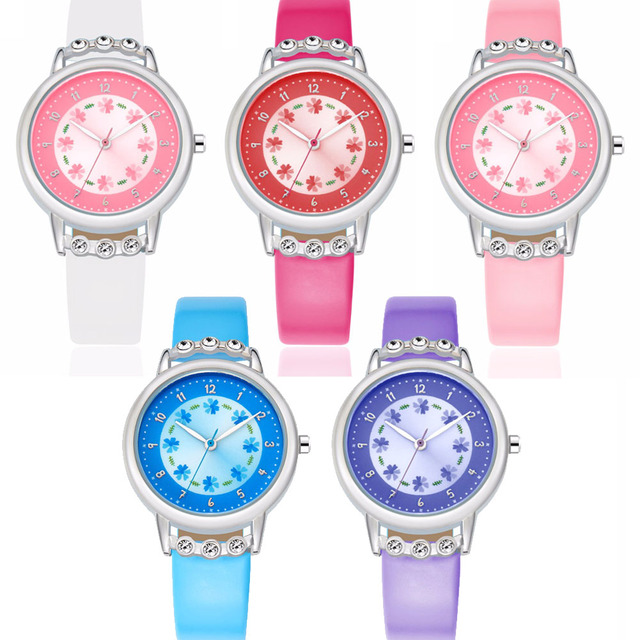 Children Kids Watches Casual Fashion Cute Flowers Students Watch Life Waterproof