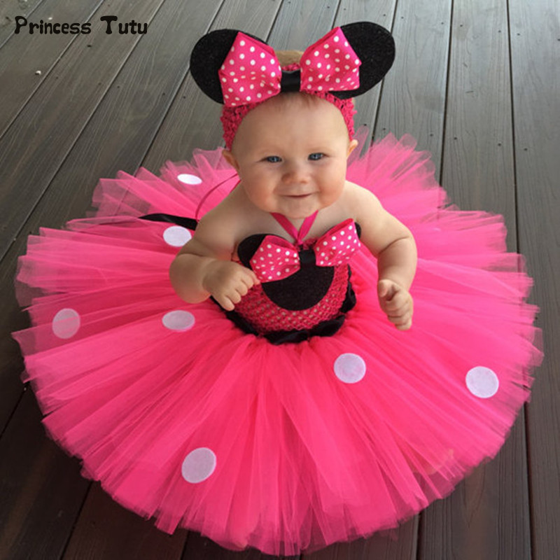 High Quality Minnie Dress Baby Girl Dots Birthday Party Dress Fancy Cosplay Costume Kids Girls Red Pink Tulle Cartoon Tutu Dress fancy girl mermai ariel dress pink princess tutu dress baby girl birthday party tulle dresses kids cosplay halloween costume