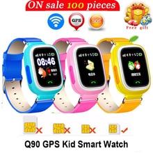 Лучшие Smarcent Q90 WI-FI GPS телефон позиционирования Дети Детские смартфон смотреть 1.22 дюймов Сенсорный экран WI-FI SOS Смарт-часы Часы