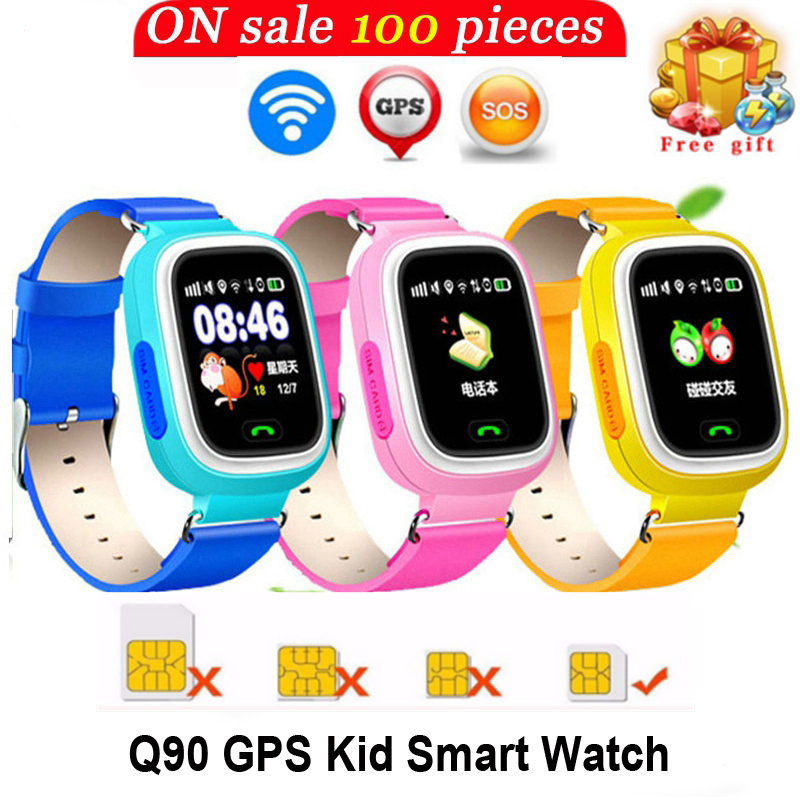 Smarcent q90wifi <font><b>GPS</b></font> Phone Positioning kids Children Baby Smart Phone Watch 1.22 Inch Touch Screen WIFI SOS Smart Watch Watches