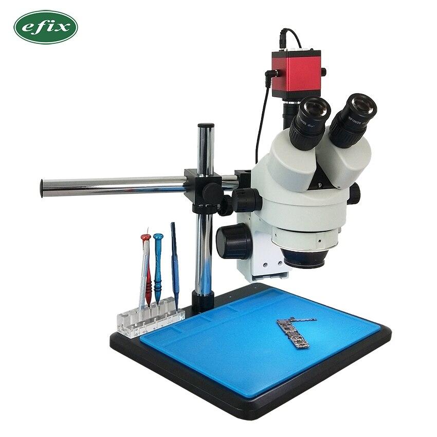 Efix HDMI VGA 7 ~ 45X Simul-Focal Continue Zoom Trinoculaire Stéréo Microscope 13MP Caméra 56 LED Support Universel téléphone De Réparation