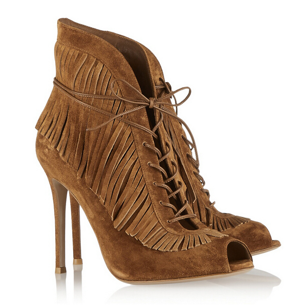 Aliexpress.com : Buy Western Style Brown Shoes Open Toe Fringe ...