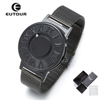 New EUTOUR Magnetic Watch Men Ball Show Stainless Steel Watches Men Fashion Casual Quartz Men S