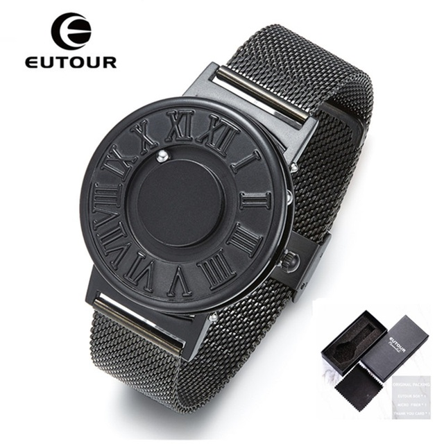 New EUTOUR Magnetic Watch Men Ball Show Stainless Steel Watches Men Fashion Casual Quartz Men's Wrist Watches relogio masculino