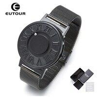 Nueva eutour reloj magnético hombres bola mostrar Acero inoxidable relojes hombres moda casual hombres del cuarzo relojes Relogio Masculino