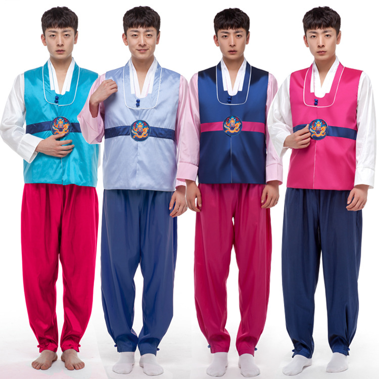 Men Korean Hanbok Male Korea Tradition Costume 4 Color Hanfu Korean Clothing for Men Performance Cosply for Party 89