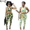 Parte Superior do tanque Com Calças Compridas Mulheres Define Sexy Fashion Jumpsuit Limão Impressão Novas Mulheres Macacão 2 Peças Outfits