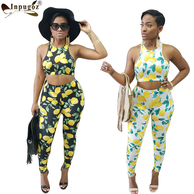 832a88fb6a5f6d Tank Top With Long Pants Women Sets Sexy Fashion Jumpsuit Lemon Print New  Women Rompers 2 Pieces Outfits