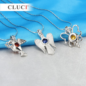 Image 4 - CLUCI 10pcs/set Mixed Bird Styles Silver Plated Cages for Women Hot Wish Pearl Locket Jewelry MPC003SB