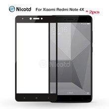 2 قطعة ل Redmi نوت 4 النسخة العالمية Nicotd الملونة 2.5D غطاء كامل الزجاج المقسى ل شاومي Redmi نوت 4X واقي للشاشة