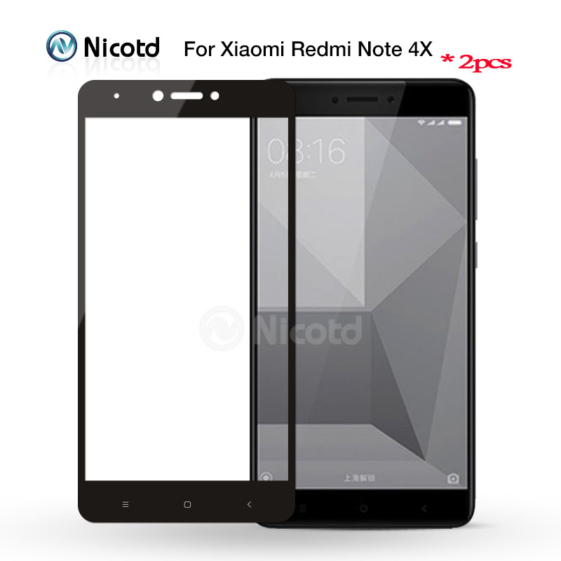2 piece For Redmi Note 4 Global Version Nicotd Colorful 2.5D Full Cover Tempered Glass For Xiaomi Redmi Note 4X Screen Protector