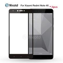 Redmi note 4 용 2 피스 xiaomi redmi note 4x screen protector 용 nicotd 다채로운 2.5d 풀 커버 강화 유리