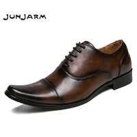 JUNJARM 2019 Men Dress Shoes Quality Men Formal Shoes Lace-up Men Business Oxford Shoes Brand Men Wedding Pointy Shoes