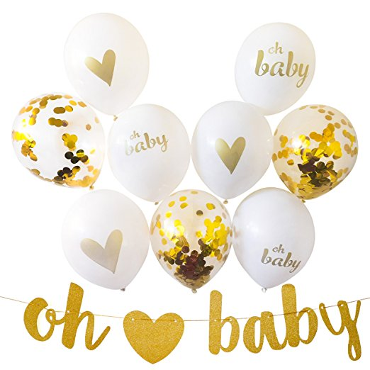 Baby Shower Party Decorations Its girl Banner &9pcs Balloons White,Gold,Pink Kit Set Hang on Wall Glitter Unisex Pregnancy Ann
