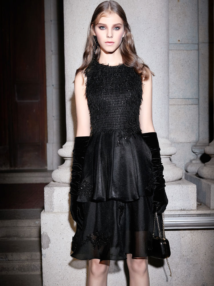 De Q112 Genou Qualité longueur Haute 2019 Printemps Noir Robes Robe Sexy Nouvelle Douce Défilé Plume Mode 4qUwyZ5f