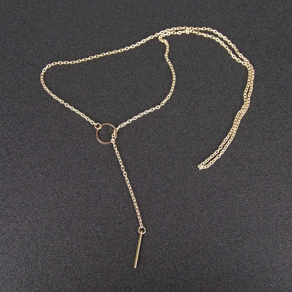 ファッションシンプルなロングスティックペンダントネックレス金属の女性のジュエリーチョーカーゴールドシルバースターネックレス首に初期チェーン