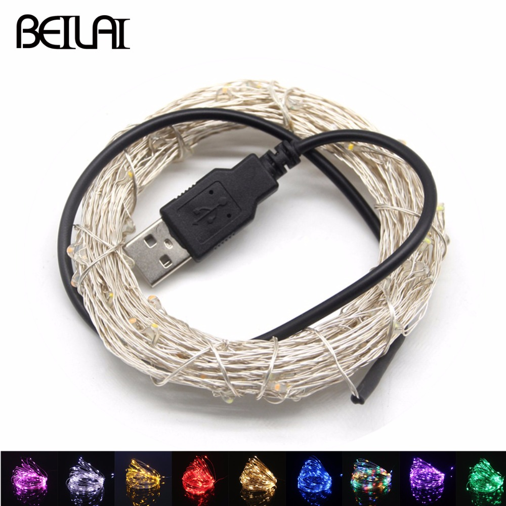 DC 5V USB LED String <font><b>Lights</b></font> 20M 10M 5M 2M Silver Wire Waterproof Fairy <font><b>Light</b></font> Garland <font><b>For</b></font> <font><b>Home</b></font> Christmas Wedding Party <font><b>Decoration</b></font> image