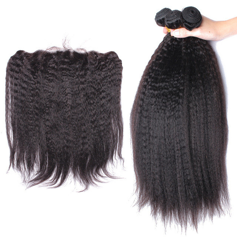 Kinky Straight Human Hair Bundles With Frontal Closure Silk Base Lace Frontal Closure 3 Brazilian Remy Hair Extension You May