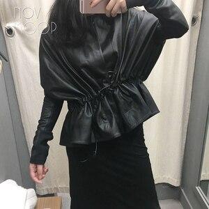 Image 2 - Feminino preto couro genuíno corrigido grão pele de cordeiro casacos de couro jaqueta gravata cintura elasticized rib malha painel na manga lt2477