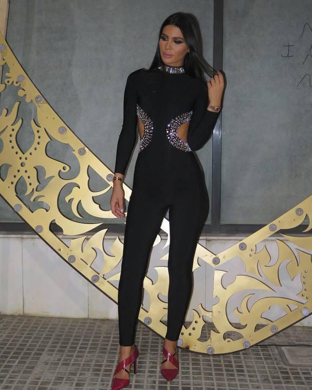 Punto Diseñador Ahuecan Rebordea Sexy De Elegante Hacia Lujo Que Mujeres Vendaje Del Mono Fuera Hecho Negro 2017 UaOq0wxxt