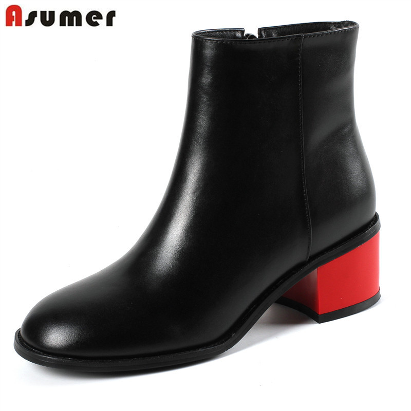 ASUMER 2019 hot sale new ankle boots round toe zip genuine leather boots high heels shoes classic autumn winter boots women asumer 2017 hot sale round toe square high heels women ankle boots restoring flock leather platform boots autumn winter shoes