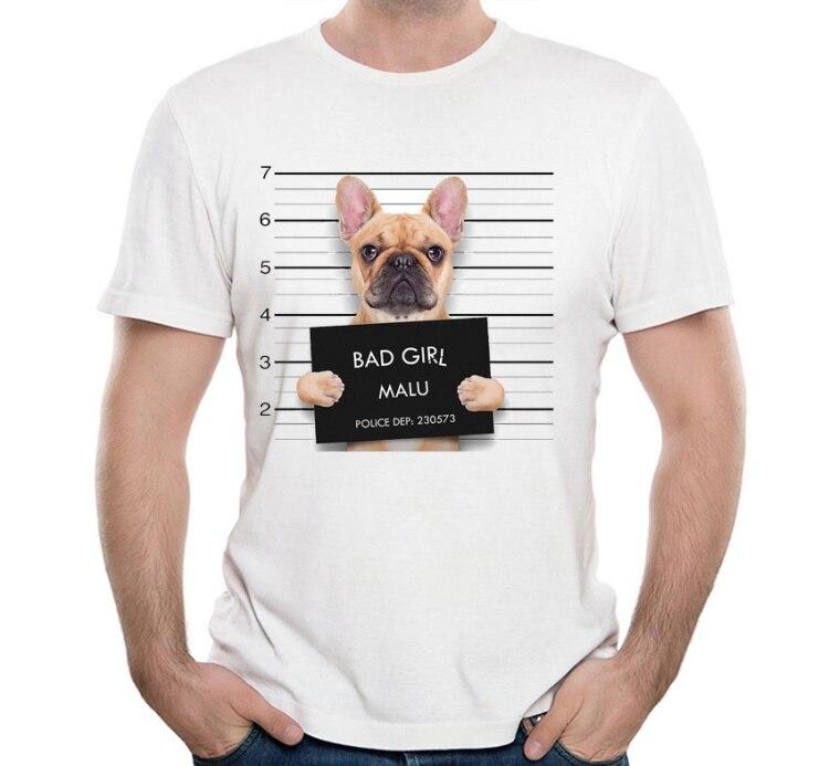 Funny Criminal Bulldog At The Police Station Mugshot T-Shirt Summer Men T-shirt Lovely Dog Design Tops Cool Punk Male Tees