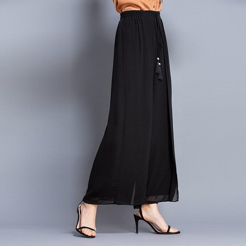 100% seda cintura alta doble capa pantalones de color sólido Casual alta cintura pierna ancha pantalones de verano de las mujeres-in Pantalones y pantalones pirata from Ropa de mujer    2