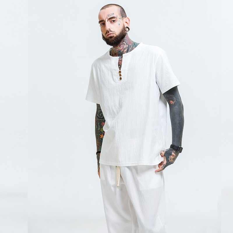Traditionele chinese kleding voor mannen mannelijke Chinese mandarijn kraag shirt blouse wushu kung fu outfit China shirt tops TA375