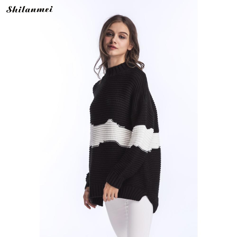 Oversized Turtleneck Sweater Women Pullover Long Sleeve Patchwork ...