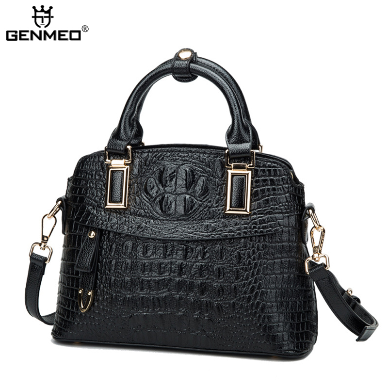 New Arrival Alligator Genuine Leather Handbags 2017 Fashion Cow Leather Shoulder Bags Women Messenger Bags Ladies Handbag Bolsa 2017 new women leather handbags head layer cowhide leather women handbag fashion female genuine leather shoulder messenger bags