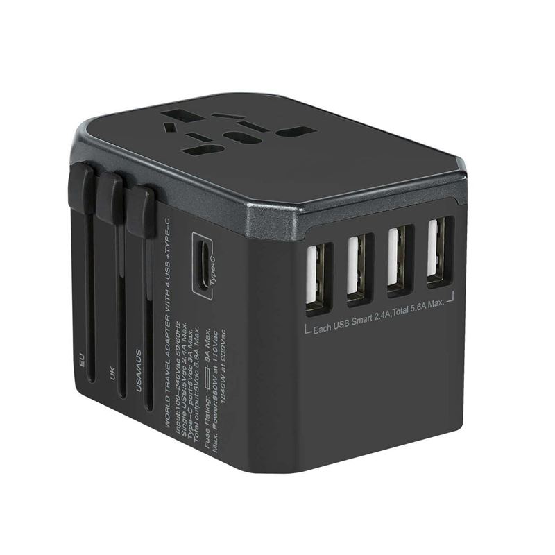 Universal Travel Power Adapter All in One Worldwide International Wall Charger Adaptor with 5.6A Smart Power USB and 3.0A USB