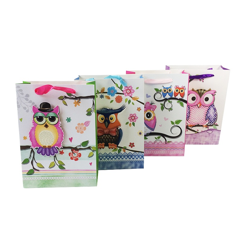 1pc/lot 3D Owl Paper Bags With Ribbon Handle 18*25*8cm Multifunction Bag Cute Recyclable Environment-friendly Gift Packing Bag