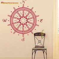 Nautical Home Decor Compass Rudder Steering Wheel Wall Stickers For Living Rooms kids Vinyl Removable Adesivos de parede C-04