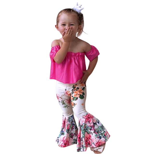 7f50778b5668bd ARLONEET Clothes Girls Summe Solid Off Shoulder Tops+Floral Pants Set  Outfits Kids 2018 Floral Print One-shoulder chest Cloth