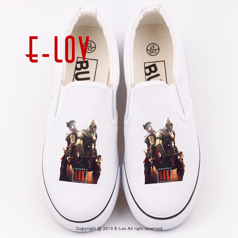 2017 New Arrival Cosplay White Assassins Creed Flat Shoes Women Girls Loafers Canvas Shoe Hip Hop Printed Assassins Creed Flats