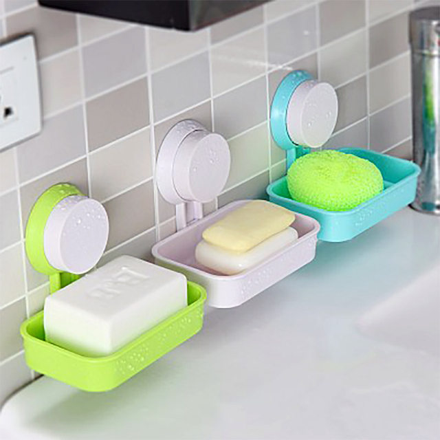 Plastic Shower Strong Suction Cup Soap Dish Tray Wall Holder Bathroom Soap  Storage Box Practical Bath